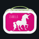 """Pink Purple Unicorn Silhouette Kids Personalized Lunch Box<br><div class=""""desc"""">Pink Purple Unicorn Silhouette Kids Personalized Kids Double Sided Lunch Box. Design on both sides. Front is hot pink, back is deep purple, CUSTOMIZE to change background colors. Personalize this fun and colorful unicorn gift in white font on both sides. Silhouette of unicorn in white on both front and back...</div>"""