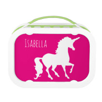 Pink Purple Unicorn Silhouette Kids Personalized Lunch Box