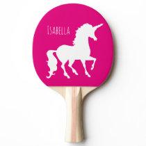 Pink Purple Unicorn Silhouette Kids Personalized Ping Pong Paddle