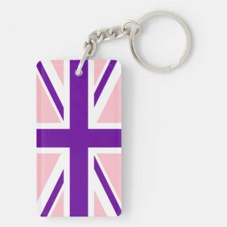 Pink Purple Union Jack Double-Sided Rectangular Acrylic Keychain