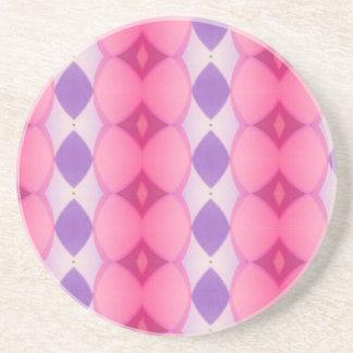 Pink Purple Verticle Modern Shapes Fractal Drink Coaster