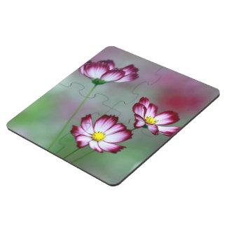 Pink Purple Vines Flowers Blossoms Love Peace Art Puzzle Coaster