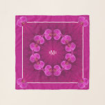 """Pink Purple Violet Square Chiffon Scarf<br><div class=""""desc"""">""""It's All About The Pink"""" Orchids Monogrammed Square Chiffon Scarf.  Colors from pink to red-violet include Lipstick pink,  Pompadour purple,  and Flirt Pink.  Stunning pop of color. Graphic Design by Claudine Boerner.</div>"""