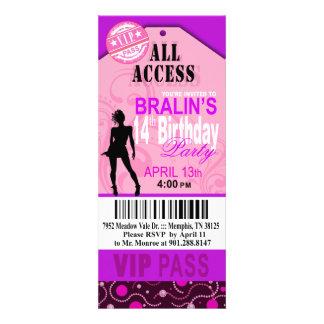 Pink Purple VIP 14th Birthday Ticket Party Invite