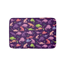 Pink Purple Watercolor Dinosaur Silhouette Kids Bath Mat
