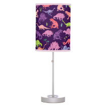 Pink Purple Watercolor Dinosaur Silhouette Kids Desk Lamp