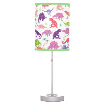 Pink Purple Watercolor Dinosaur Silhouette Kids Table Lamp