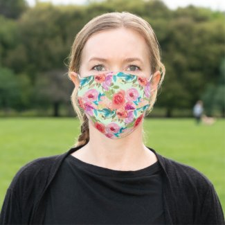 Pink Purple Watercolor Flowers Teal Leaves Green Cloth Face Mask