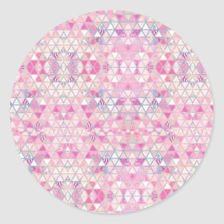 Pink purple watercolor pastel triangles pattern classic round sticker