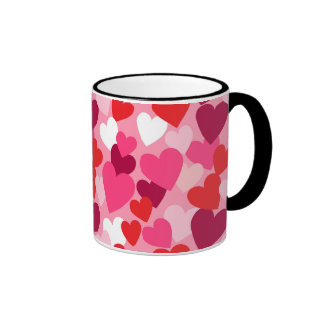 Pink, Purple & White Hearts Design Mug