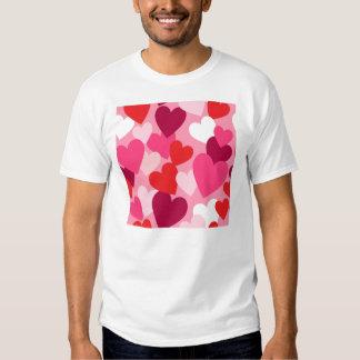 Pink, Purple & White Hearts Design T-Shirt