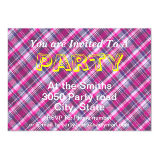 Pink Purple White Plaid Pattern With Custom Text Card