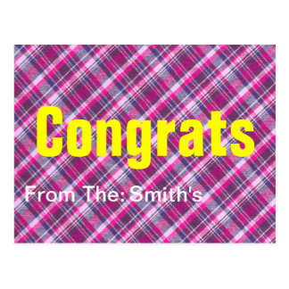 Pink Purple White Plaid Pattern With Custom Text Postcard