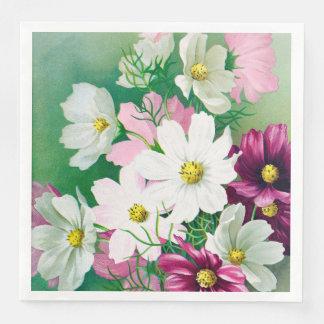 Pink, Purple, White Vintage Cosmos Paper Napkin Lg