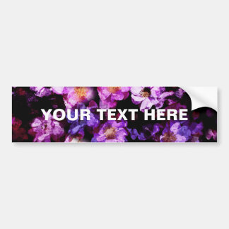 Pink Purple Wild Roses Abstract Painterly Montage Bumper Sticker