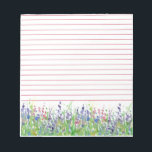 """Pink Purple Wildflowers Meadow Watercolor Lined Notepad<br><div class=""""desc"""">A pretty lined notepad decorated with a wildflower meadow with purple,  pink and blue flowers painted in watercolor.</div>"""