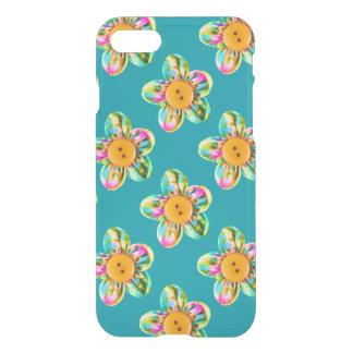 Pink, purple, yellow flowers on dark cyan iPhone 7 case