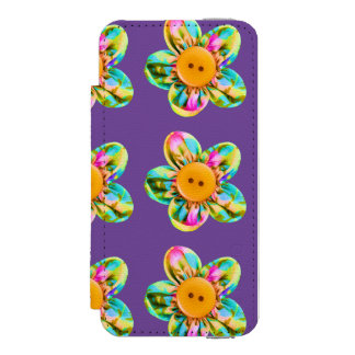 Pink, purple, yellow flowers on dark violet wallet case for iPhone SE/5/5s