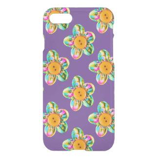 Pink, purple, yellow flowers on purple iPhone 7 case