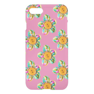 Pink, purple, yellow flowers on soft pink iPhone 7 case