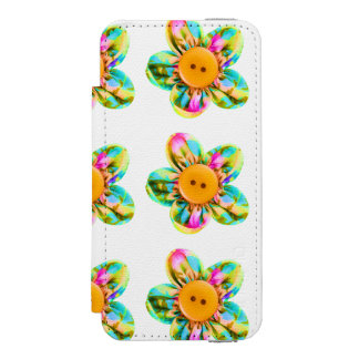 Pink, purple, yellow flowers wallet case for iPhone SE/5/5s