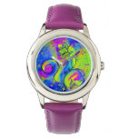 PINK PURPLE YELLOW GREEN WHIMSICAL FLOWERS WATCH