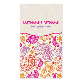 Pink Purple & Yellow Paisley Ham Pattern Design Double-Sided Standard Business Cards (Pack Of 100)