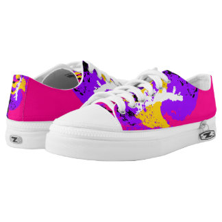 Pink Purple Yellow White Black Color Run Printed Shoes