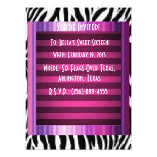 Pink Purple Zebra Party Invitations