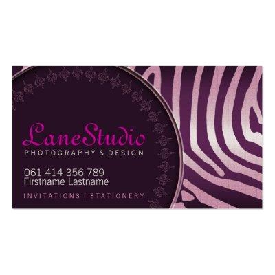 Pink Purple Zebra Style w/ Logo Business Cards