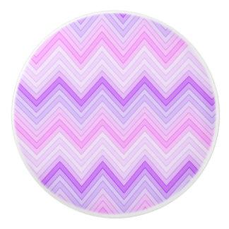 Pink & Purple Zigging Zags Ceramic Knob