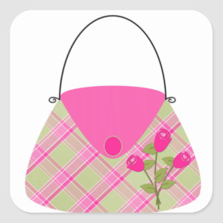 Pink Purse With Green Square Sticker