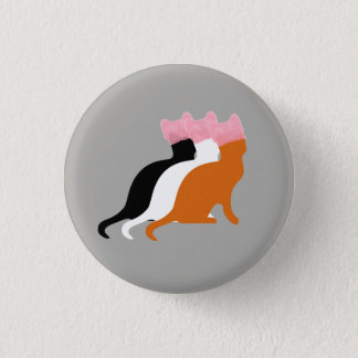 Pink Pussy Cat Pink Hat Women's Rights Button