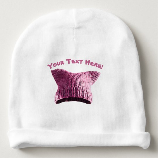 Pink Pussy Cat Solidarity Baby Hat Your Own Text