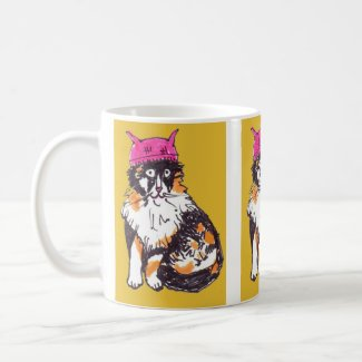 Pink Pussy Hat on Calico Cat for Women's March Coffee Mug