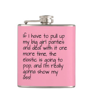 Pink Put Big Girl Panties Words Name Personalized Flask
