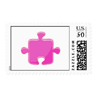 Pink Puzzle Piece Postage