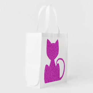 Pink Puzzled Cat Reusable Tote Bags Reusable Grocery Bag