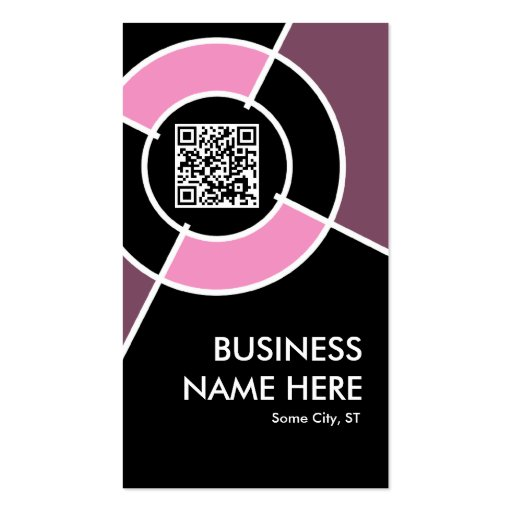 pink QR code and logo target Business Card