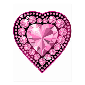 Pink Quartz Gem Heart Postcard