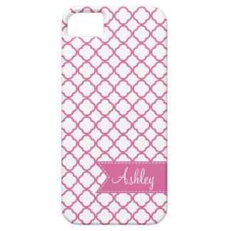 Pink Quatre Foil with Custom Monogram Ribbom iPhone SE/5/5s Case