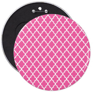 Pink Quatrefoil 6 Inch Round Button