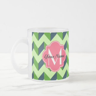 Pink Quatrefoil Green Chevron Patchwork Pattern Frosted Glass Coffee Mug