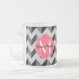 Pink Quatrefoil Monogram Black and Gray Chevron Frosted Glass Coffee Mug