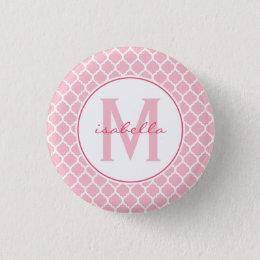 Pink Quatrefoil Monogram Button