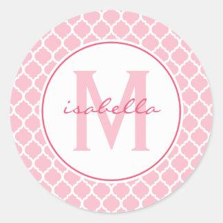 Pink Quatrefoil Monogram Classic Round Sticker