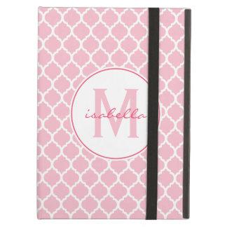 Pink Quatrefoil Monogram Cover For iPad Air