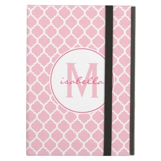 Pink Quatrefoil Monogram iPad Covers