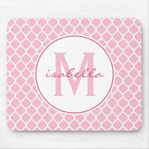 Pink Quatrefoil Monogram Mouse Pad