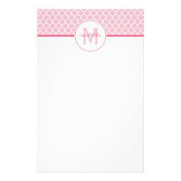 Pink Quatrefoil Monogram Stationery